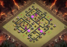 Diseño de Guerra y Farming para Ayuntamiento 9 Hybrid Base Layout TH8