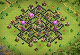 Diseño con Ayuntaiento 8 Rey Bárbaro y Castillo Centrado TH8 Farming Base Layout
