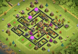 Diseño Ayuntamiento 8 Subir Copas, TH8 War Base Layout Pushing Trophies