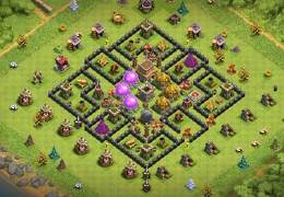 TH8 Farming Base Layout Storages Together in Center, Ayuntamiento 8 Almacenes Juntos
