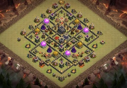 Hybrid Base layout TH9, Subida de Copas y Guerra Ayuntamiento 9