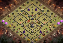Base Layout for TH9, Clan Castle Centeres, Diseño Ayuntamiento 9, Castillo Centrao
