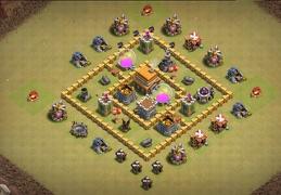 Classic Square War Base Layout TH5, Diseño de Guerra Cuadrado Ayuntamiento 5