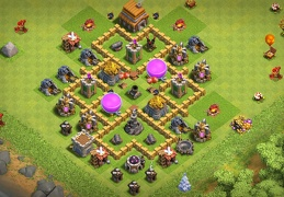 #0701 Base Layout to Protect Gold and Elixir TH5, Proteger Oro y Elixir Ayuntamiento 5