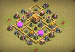 #0705 Pushing Trophies or War Base Layout TH5, Subida de Copas o Guerra