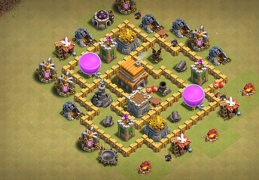 #0707 Pushing Trophies and War Base Layout TH5, Subida de Copas y Guerra