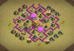 Hybrid Base Layout TH6, Diseño Guerra Laberinto Ayuntamiento 6