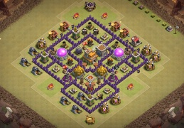 #0750 Hybrid Base Layout TH7, Proteger Recurss y Guerra Ayuntamiento 7