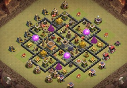 Hybrid War and Farming Base Layout TH8, Proteger Elixir Oscuro y Gyerra