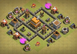 #0861 War Base Layout TH4, Diseño Para Ayuntamiento 4 Guerra