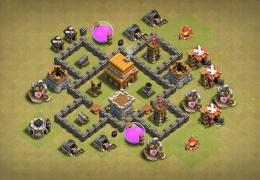 #0862 War Base Layout for TH4, Diseño de Guerra para Ayuntamiento 4