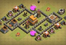 #0864 Horizontal War Base Layout fr TH4, Diseño Guerra Horizontal Ayuntamiento 4