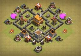 #0865 War Base Layout TH4, Diseño Guerra Ayuntamiento 4