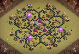 Hybrid War and Trophy Base Layout TH8, Subida de Copas y Guerra Ayuntamiento 8