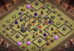Labyrinth War base layout for TH9, Diseño de Guerra Laberinto Ayuntamiento 9