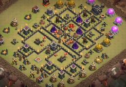 War Base Layout for TH9, Outside Town Hall, Diseño Guerra Ayuntamiento 9 Afuera