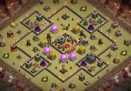 War Base Layout TH9, Clan Castle Centered, Diseño de Guerra Castillo Centrado