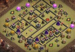 War Base Layout TH9, Clan Castle Centered, Castillo Centrado
