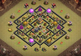 #1239 Hybrid Base War and Farming TH8, Diseño de Guerra y Farming