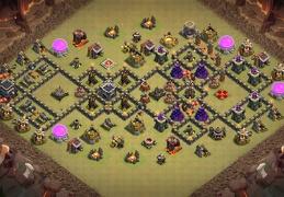 #1329 Horizontal War Base Layout TH9, Diseño de Guerra Horizontal Ayuntamiento 9