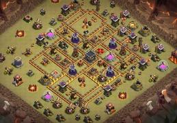 #1395 War Base Layout for Town Hall 10, Diseño Guerra Ayuntamiento 10