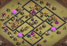 #1400 War Base Layout for TH8, Diseño de Guerra Ayuntamiento 8
